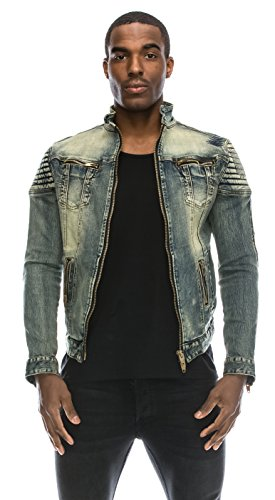 Angel Cola Men's Biker Slim Fitted Distressed Washed Denim Jacket Vintage S