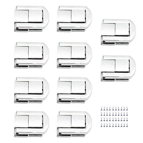 LumenTY 10 Piezas El de Bloqueo Palanca Pestillo Bloqueo Caja de Cierre Ajuste (Incluye Tornillos) Para Cajas de Joyas / Cajas de Regalo/Cajas de Artesanía/Maleta - Plateado