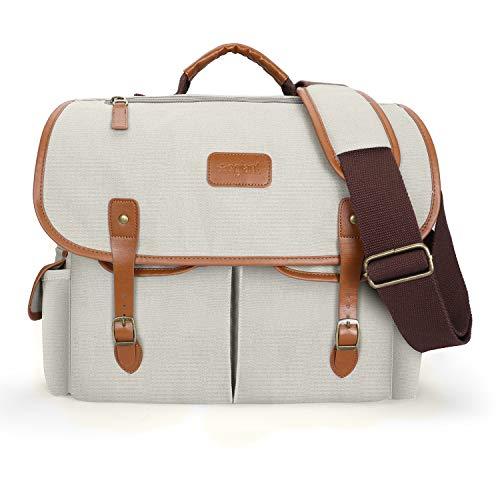 egiant 15,6 Zoll Laptop Messenger Bag für Herren & Damen, wasserabweisend, Vintage-Canvas, Schultertasche für Schule, Reisen, Grau