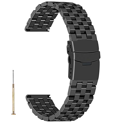 Engineer Watch Strap 22mm Stainless Steel Watch Strap Band Replacement Screw 5 Rows Black Watch Bracelet for Men Women with Metal Deployment Clasp