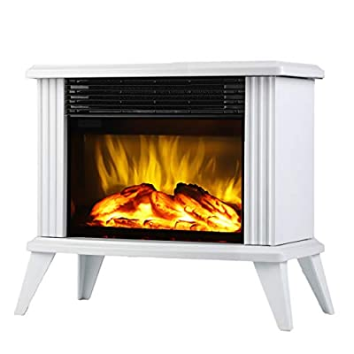 DONYER POWER Mini Electric Fireplace Tabletop Portable Heater,14.8'' (White, Metal)