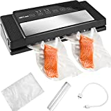 Vacuum Sealer Machine - Getlink Automatic Air Vacuum Sealing For Food Preservation,Lab Tested,Dry & Moist Food Modes,10 Seconds to Complete,5 Reusable Bags and 1 Roll Food Saver Bags Attached