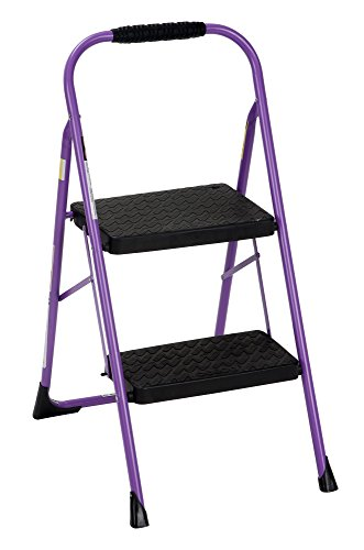 Cosco 11308PRP1E Two, Purple Three Big Folding Step Stool with Rubber Hand Grip