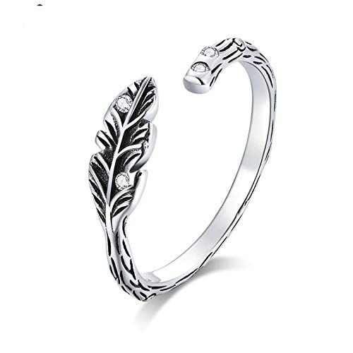 JIARU Anillo de plata de ley 925 ajustable para mujer, anillo simple de moda y anillos de hojas vintage para niña abierto anillo de dedo regalo