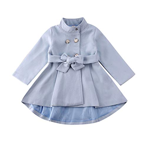Carolilly - Chaqueta de manga larga para bebé y niña, color liso azul claro 4- 5 Años