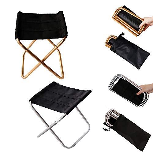 XIAOHE Chaise Pliante Portable extérieure, Cadre en Aluminium Ultra léger, siège Noir en Oxford, Jardin de Plein air pour la pêche Sportive,Gold+Siver