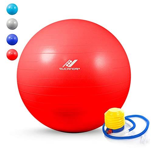 Rucanor Gymnastikball, Yoga Ball, Pilates Ball, Sitzball für ins Büro, Fitball für Stabilitäts & Schwangerschaftsübungen, Anti-Burst, PVC-Material, Inklusiv Praktische Fußpumpe, Hellblau