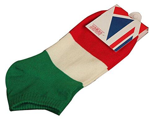 BLANCHO BEDDING Lot de 2 Flag Chaussettes en Coton Chaussettes pour Hommes Blanc Gris Italie #01