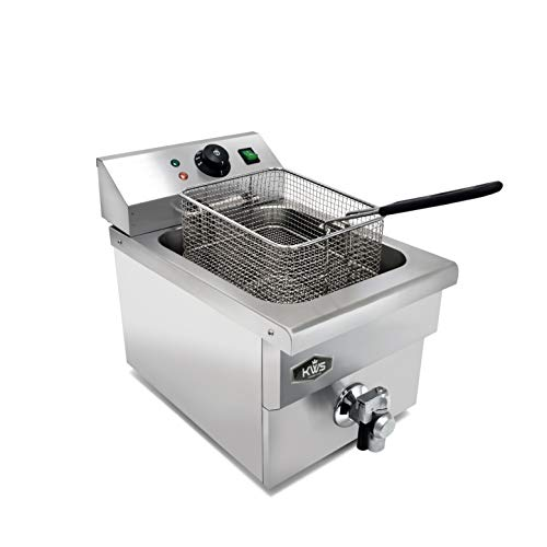 KWS DY-6 Commercial 1750W Electric Deep Fryer 5.7L Stainless Steel with Faucet Drain Valve System for Commercial and Home User