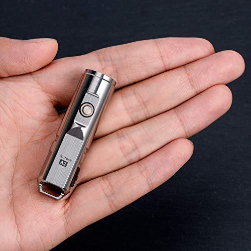 Wiederaufladbare 650-Lumen-USB-LED-Taschenlampe, Cree XP-G3, Edelstahl-Taschenlampe, Geschenkleuchte, RovyVon A2x (Silber)