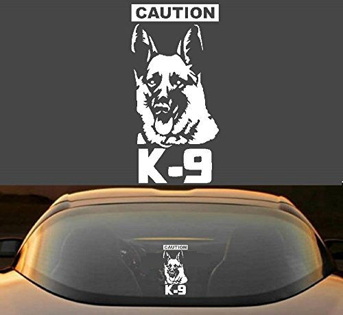 8' CAUTION K-9 GERMAN SHEPARD POLICE DOG WORKING CANINE 7 YEAR VINYL DECAL STICKER