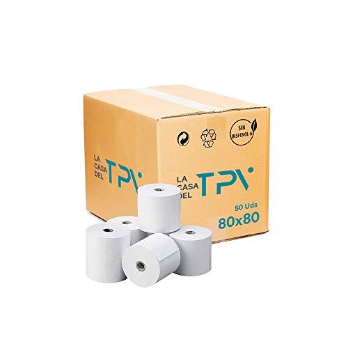 Caja de 50 rollo de papel térmico 80 x 80 mm. +/- 80 m. Excelente calidad de papel.Sin biefenol-A, compatible con todas las impresoras térmicas. Unidad 0.91 + IVA