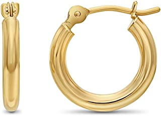 14k Yellow Gold Classic Shiny Polished Round Hoop Earrings, 2mm tube