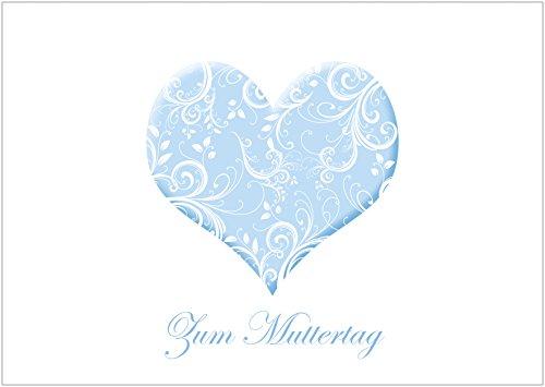 Muttertagskarte Glückwunschkarte Klappgrusskarte mit einem Herz in zartem Blau und florales Muster in Weiß. Text: Zum Muttertag (Mit Umschlag) (1)