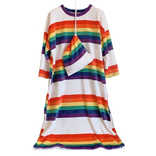 yanni Damen-Winter-Nachthemd aus dickem Flanell, Regenbogenstreifen, Pyjama, Rundhalsausschnitt, Maxi, lang, Übergröße, mit Aufbewahrungstasche Gr. 48, 2xl