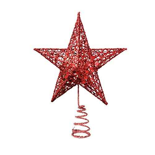 Glittered Christmas Tree Topper Star Red Star Treetop for Christmas Tree Decorations (6.3 inch Tree Topper Star red)