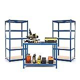 Paquete de iniciación para negocios pequeños o garajes, 2estanterías y 1mesa de trabajo de 450mm de profundidad