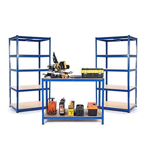 Starterset voor kleine bedrijven of werkplaatsen, 2 x rek en 1 x werkbank, diepte 300 mm