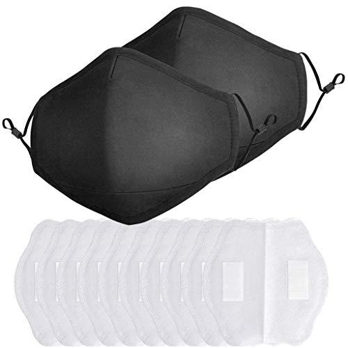 Harpily Reutilizable y Lavable con Carbón Activado Filtro Antipolvo para Adultos, Pack 2 Unidades + 10 Unidades Almoyangdilla Negra