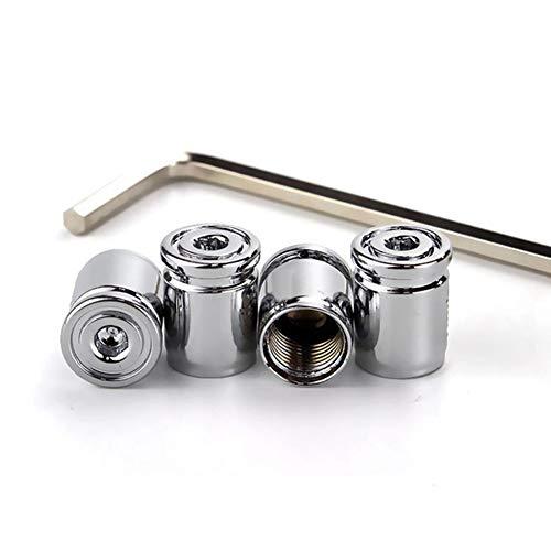 tapas de las válvulas de aire de los neumáticos del coche, 4 piezas Tapa de válvula antirrobo para neumáticos de coche acero inoxidable con llave tapa de la válvula de la bicicleta de la motocicleta