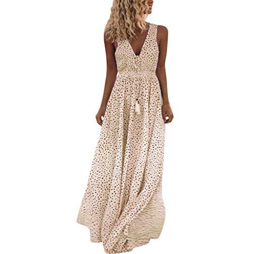 Sunday Damen Sommerkleider Lang Blumen Kleid Ärmellose V-Ausschnitt Kleid Lange Partykleid Boho Tupfen Strandkleid (M, Gelb)