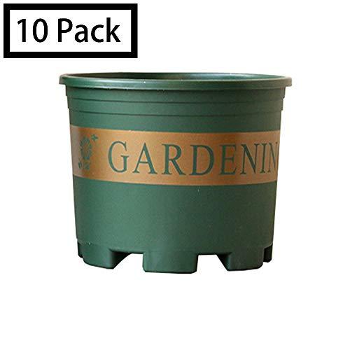 7-Zoll-Kunststoff-Pflanzgefäße Indoor-Set Mit 10 Blumenpflanzentöpfen Moderner Dekorativer Gartentopf Mit Drainage Für Alle Zimmerpflanzen, Blumen, Kräuter, Afrikanischen Veilchen, Laubpflanzen,3Gal