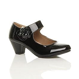 Ajvani Womens Ladies Low Block Kitten Heel Mary Jane Style Flower Leather Lined Work Court Shoes Pumps Size