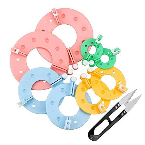 Zaleonline 8 Stück Pompom Maker 4 Größen Bommel Maker zum Basteln Fluff Ball Weaver Kit Bommelmacher Bommelschablone Fluff Kugel DIY Nadel Handwerk Toolkit für Kinder Erwachsene
