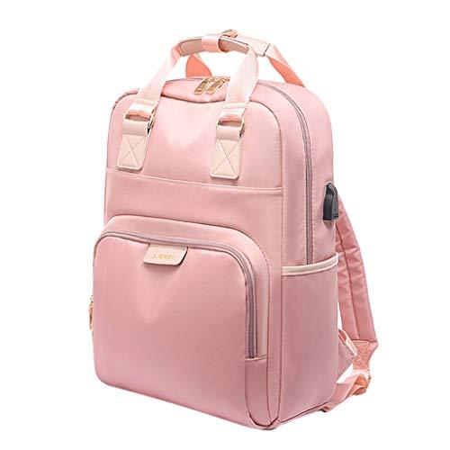 Amuzocity College School Travel Laptop Backpack Bookbag USB Charging Port Oxford Cloth - Pink_15.6 inch