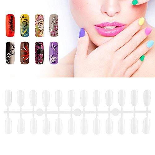 Nail Color Card–Polish pantalla a Color de gel ovalada hazlo tú mismo Practice Nail Art falsos Tips Paleta de los gráficos 240nailtips Bianco