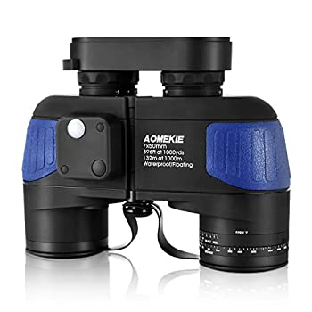 AOMEKIE Marine Binoculars Low Light Night Vision for Adults 7X50 Military Waterproof Fogproof with Compass Rangefinder BAK4 Prism Lens for Navigation Boating Fishing Water Sports Hunting