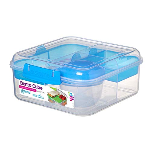 Sistema Bento Cube Box to Go mit Obst/Joghurt Topf, transparent/blau, 1,25Liter