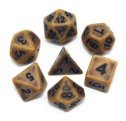 DND Dice Set Ancient RPG Dice for Dungeons and Dragons(D&D) Pathfinder MTG Tabletop Role Playing Game Polyhedral 7-Die Dice Group (Coffee Brown)