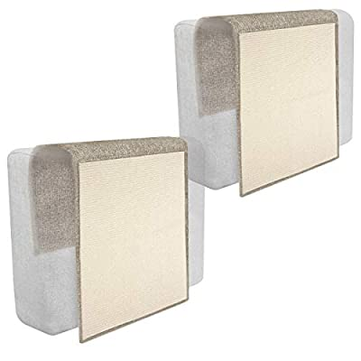 Navaris 2x Cat Scratch Mats Sofa Shield - Natural Sisal Furniture Protector Scratching Pads for Cats - Chair, Couch, Seat, Stairs - Light Brown, White by KW-Commerce