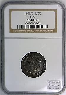 1809/6 Half Cent NGC XF-40, C-5 Variety