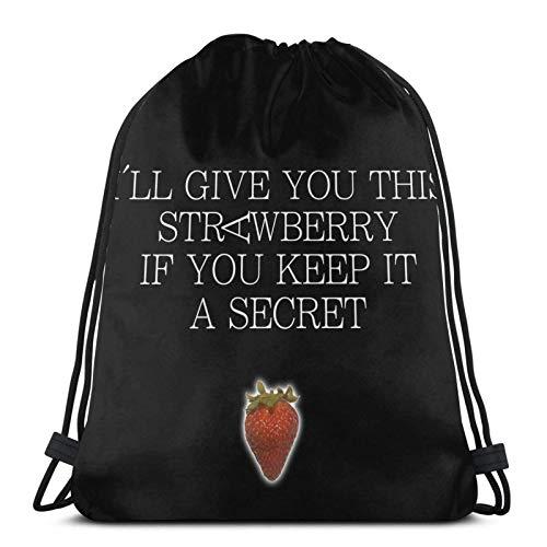 siyang Bolso Multifuncional con cordón Mochila Bolso Bandolera Bolsa Deportiva Baloncesto Fitness Viaje Unisex I'Ll Give You This Strawberry If You Keep It A Secret