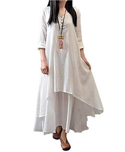 Taigood Womens Vintage Boho Vestido Casual Irregular Maxi Vestido Algodón Lino Suelta Manga Larga Capas Lino Moda Vestido Blanco 4XL