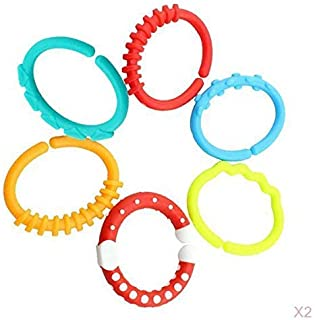 12pcs Silicone Baby Teether Rings Links Toys Links Rattle Strollers Car Seat Travel Toys for Baby Infant Newborn