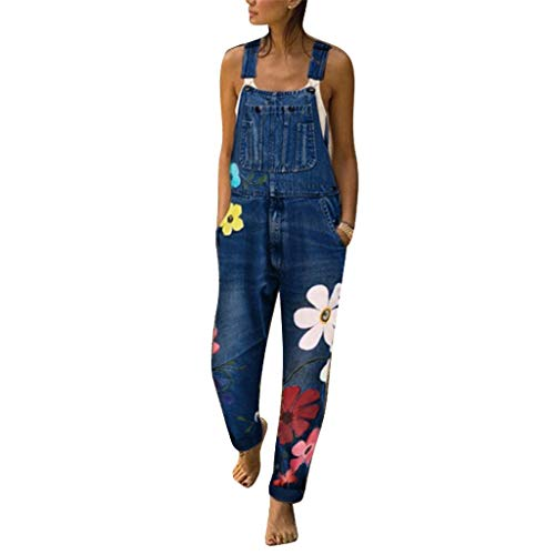 FEDULK Women's Fashion Denim Bib Pants Floral Print Sexy Long Rompers Bib Pants Jumpsuits(Blue, XX-Large)