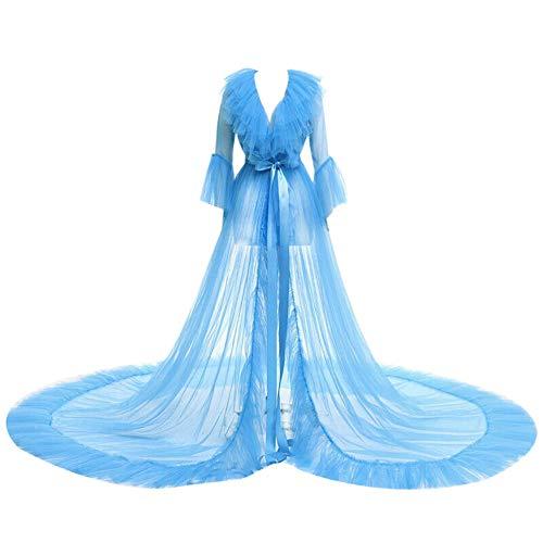 Loalirando - Vestido de noche de tul para mujer, estilo kimono, con encaje azul Tallaúnica