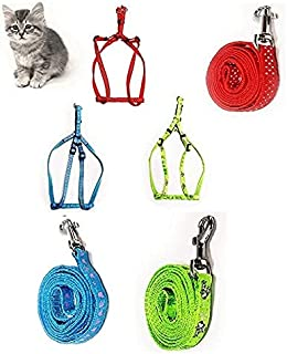 RvPaws Nylon Harness, Durable Lead Leash Rope with Comfortable Handle for Cat (Colour May Vary) 1 Pcs