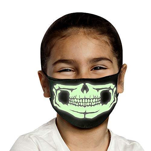 Kids Holiday Reusable Face Mask, Glow in the Dark Child Christmas Mask USA MADE