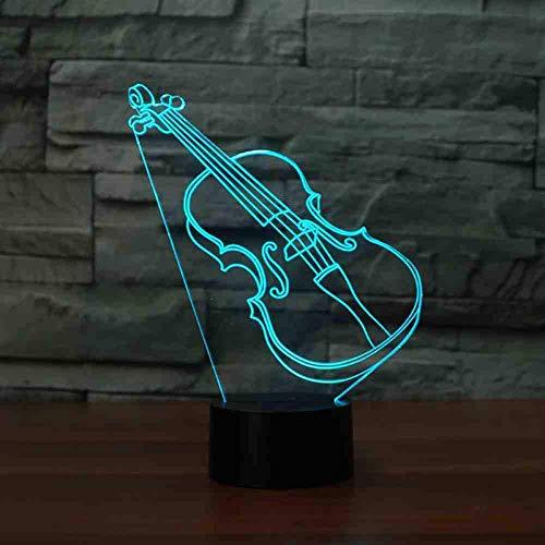 Preisvergleich Produktbild Violine Nachtlicht 3D 7 Farben Gitarre Led Lampe Nachtlicht für Kinder Geschenk Spielzeug Schlafzimmer Dekor für Kinder Baby Fernbedienung
