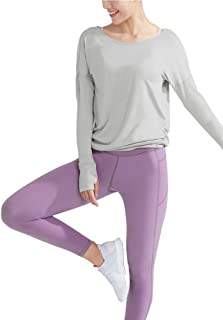 Bestisun Women's Workout Long Sleeve Open Back Shirts Loose Backless Boatneck Yoga Gym Clothes with Thumb Holes