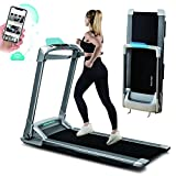 OVICX Q2S Treadmills for Home Folding Portable Treadmill Compact Walking Running Machine Workout Electric Treadmill with LED Display Device Holder Home Gym Treadmill for Small Spaces