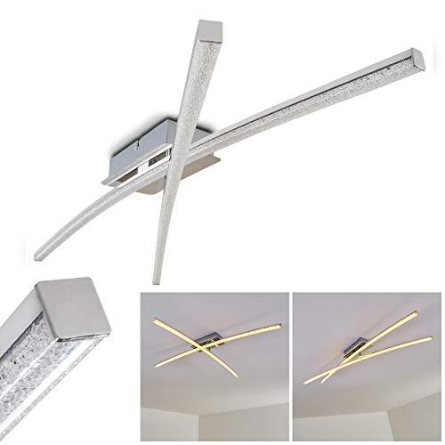 LED Deckenleuchte Georgina, moderne Deckenlampe in Chrom mit Glanzeffekt, 2-flammig mit einer verstellbaren Lichtleiste, 2 x 8 Watt, je 800 Lumen (1600 Lumen insgesamt), 3000 Kelvin (warmweiß)