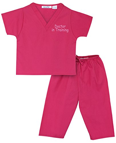 Scoots Little Girls' Doctor in Training Scrubs, 6, Hot Pink
