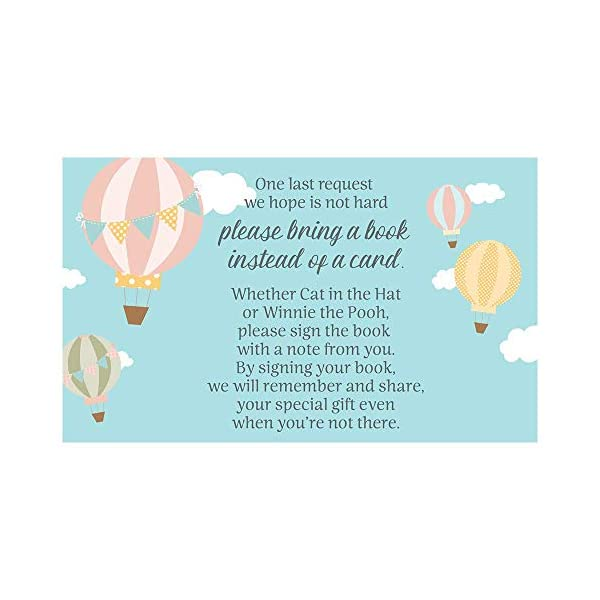 Hot Air Balloon Bring a Book Request Cards Baby Shower Up Up and Away Inserts Fly Away Adventure Awaits Begins Pink Yellow Blue Girls It's a Girl Polka Dots Pennants (25 Count)