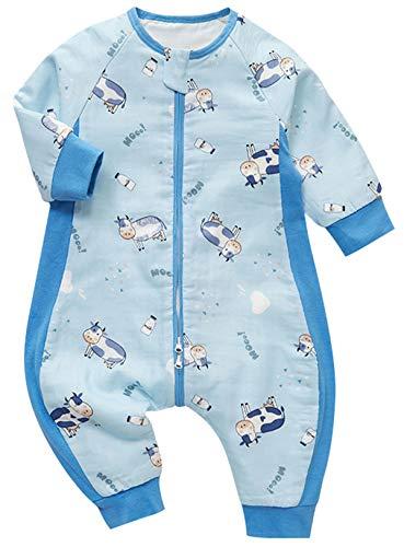Chilsuessy Baby Sommer Schlafsack mit abnehmbar Ärmeln 1 Tog 100% Baumwolle Sommerschlafsack mit Füßen für Kinder Junge Mädchen Schlafanzug, Blau Kuh, XXL/Baby Höhe 105-115cm