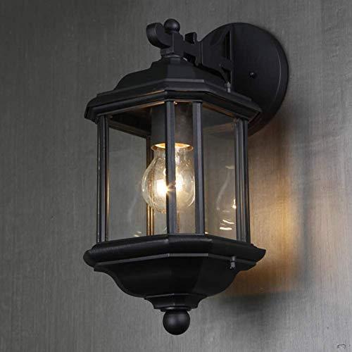 Lámpara de Pared, Apliques de Pared para Exteriores Vintage Retro Lámpara de Pared Negra Impermeable ALU Pantalla de Vidrio Transparente Lámpara de Pared para Exteriores E27 Aplique para Exteriores